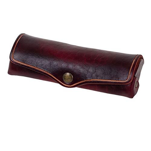 MIKA 28071004 - Brillenetui klein aus Echt Leder/Sattelleder, Etui für Brillen und Sehhilfen, Brillenbox für Damen und Herren, Brillenaufbewahrung in rot, Sonnenbrillenetui ca. 15 x 6 x 3 cm