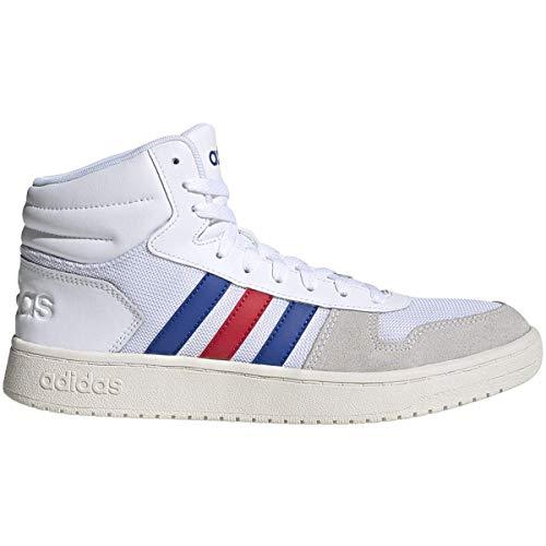 adidas Men's Hoops 2.0 Mid Basketball Shoe, White/Royal/Scarlet, 9