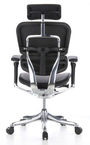 hjh OFFICE 652205 Silla de Oficina ERGOHUMAN Plus Cuero Negro, amplios ajustes, sólido Aluminio Pulido, ergonómico, sillón Alta Gama