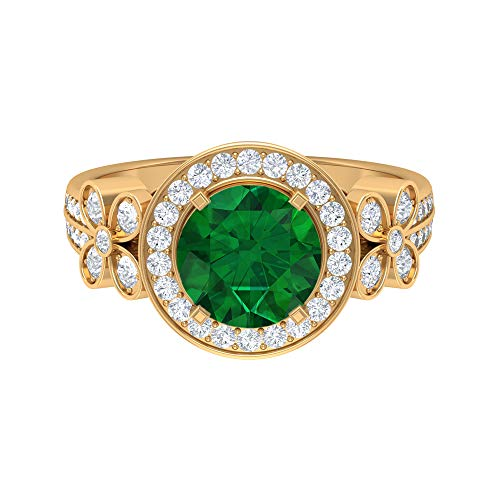 Floral Solitaire Ring, D-VSSI 2.6 CT 8 MM Moissanite Emerald Halo Ring, Art Deco Wedding Ring, Unique Gemstone Jewelry, Wedding Anniversary Ring, 14K Yellow Gold, Size:UK Z+2