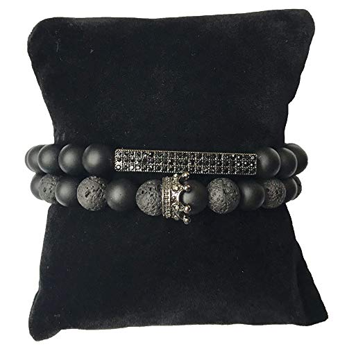 Celway Punk Crown Handmade Bracelet Essential Oil Diffuser Lava Rock Natural Gemstone Imperial Fashion Jewelry, Unisex King Queen Charm Gifts for Families Lover Girlfriend Boyfriend Friends (black)