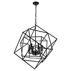★ [ADVANTAGES]: Industrial metal chandelier is made of wrought iron material. The height of the sling is adjustable at 45cm/17.7 inches, and its unique shape is suitable for lighting in different environments. ★ [MATERIAL]: The material for the livin...