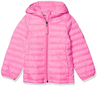 Amazon Essentials Girl's Lightweight Water-Resistant Packable Hooded Puffer Jacket, Neon Flamingo Pink, Small