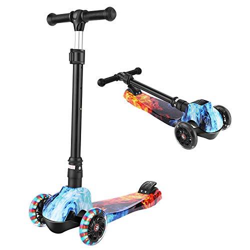 WeSkate Dreiradscooter Faltbar Roller für Kinder Scooter 3 Räder Jungen Mädchen 3-12 Jahre mit 3 Sekunden Klappsystem