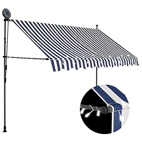 vidaXL Markise Einziehbar Handbetrieben mit LED Wasserabweisend Klemmmarkise Balkonmarkise Sonnenschutz Terrasse Balkon Garten 300cm Blau Weiß