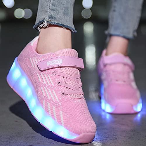XRDSHY Rollschuhe Flashing Luminous Sneaker USB-Aufladung Einrad Technische Skateboardschuhe Outdoor Sports Cross Light Up Schuhe,Pink-36