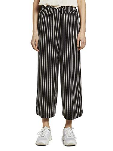 TOM TAILOR DENIM Damen Hosen & Chino Gestreifte Culotte Hose mit elastischem Bund Black White Stripe,M