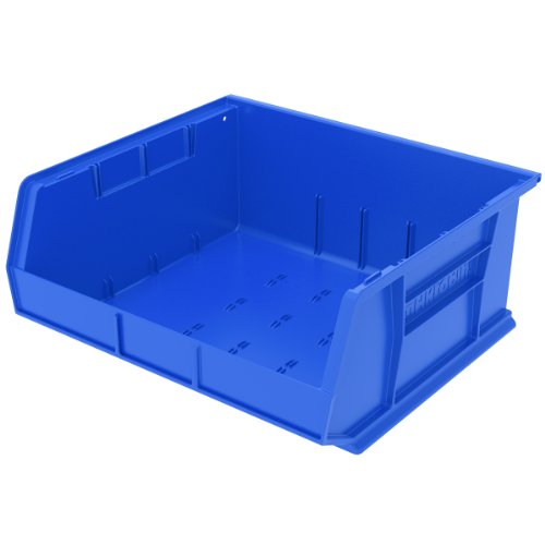 Akro-Mils AkroBins Plastic Storage Bin Hanging Stacking Containers, (15 16 x 7-Inch), (6-Pack), Blue, 6 Pack