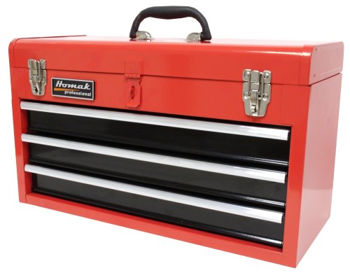 Homak 20-Inch 3-Drawer Ball-Bearing Toolbox/Chest, Red, RD01032101