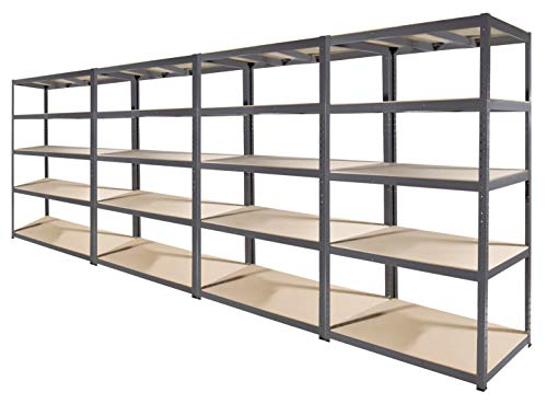 Storage Affairs Heavy Duty Garage Shelving | 180cm High x 90 Wide x 60 Deep | Grey Storage Shelves 265kg UDL | 4 Units, 5 MDF Tiers, Steel Frame Boltless Assembly | Metal Racks (4)