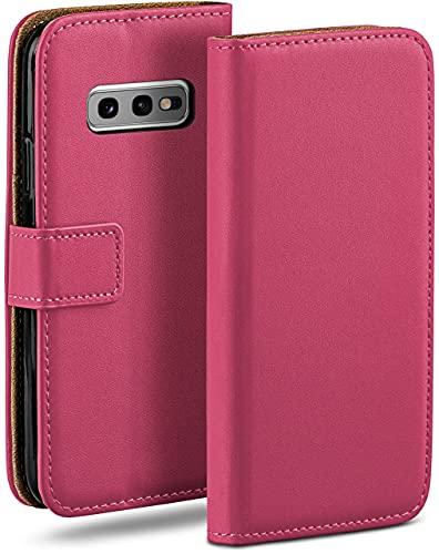 moex Klapphülle kompatibel mit Samsung Galaxy S10e Hülle klappbar, Handyhülle mit Kartenfach, 360 Grad Flip Hülle, Vegan Leder Handytasche, Pink