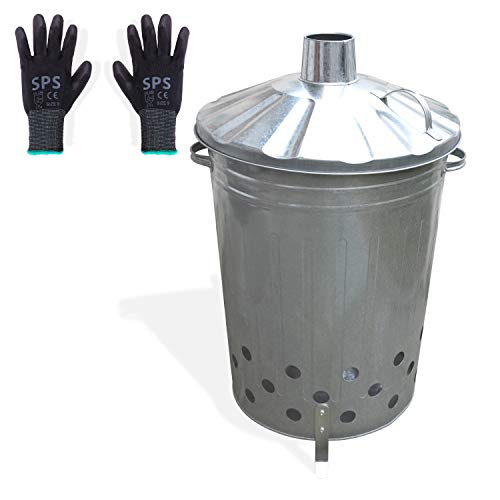 FYNIST Galvanized Steel Garden Incinerator Burn Barrel - 20 Gallon Outdoor Trash Bin with European Style Chimney, Handles and 3 Legs - Complete with Oil Resistant Gardening Gloves