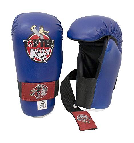 TOP Ten Pointfighter Kids 2016 Open Hands Boxhandschuhe Kickboxen Taekwondo Handschuhe Kinder blau XS