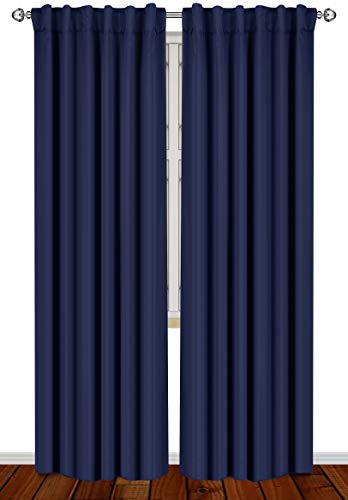 Utopia Bedding 2 Panels Blackout Curtains, W52 x L84 Inches, Navy, Thermal Insulated Window Draperies - 7 Back Loops per Panel - 2 Tie Backs Included
