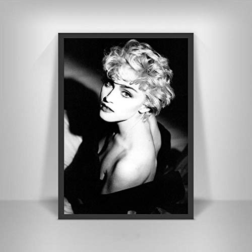 Aishangjia Madonna Poster Famosa Cantante di Musica Nero Bianco Foto Star Attrice Immagini di Arte della Parete per Soggiorno Decor 40x50 cm (15.74x19.68 in) J-3063