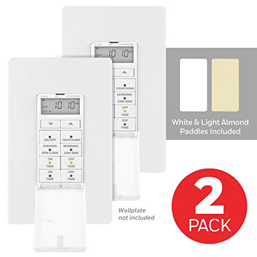 UltraPro White Honeywell 24Hour Digital InWall Timer 2 Pack 4 Programmable Override Button Door Cover Presets/Countdown Ideal for Indoor Lamps LED Seasonal Lighting 47941