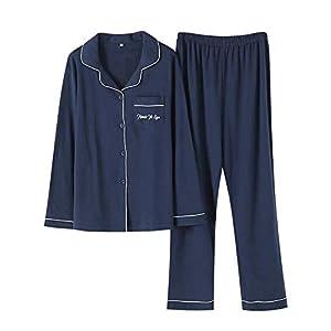 パジャマ メンズ ペア 夫婦 長袖 綿100% 上下セット ふんわり シンプル 肌に優しい ルームウェア ネイビー L