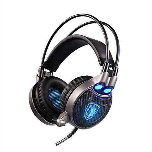 FHW Gaming koptelefoon, hoofd-gemonteerd vibrerende computer headset met microfoon Verlichte laptop USB-poort kabel Bass stereo eSports microfoon koptelefoon
