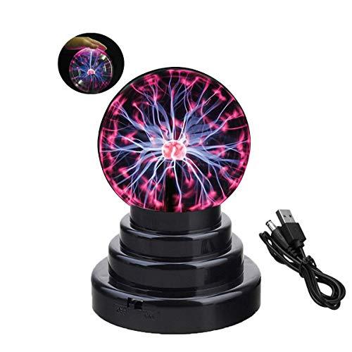 Erlsig Bola de plasma, bola de luz mágica, bola de plasma, sensible al tacto, lámpara de bola mágica, iluminación nocturna para niños