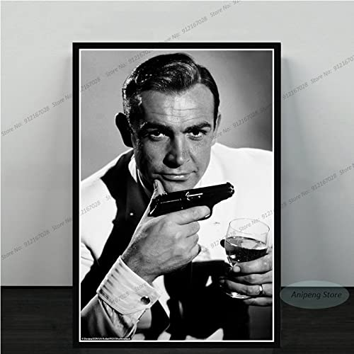 meishaonv Sean Connery Attore di Film James Bond 007 with Guns Poster Art Canvas Painting Picture for Living Room Home Decor A1182 50 × 70 CM Senza Cornice
