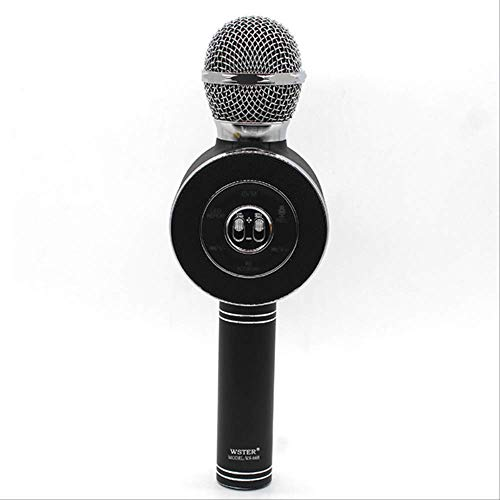 Microfoons Karaoke Wireless Bluetooth Speaker Voice Changer Van Mic Voor PC Phone Led Disc Light Black,Black