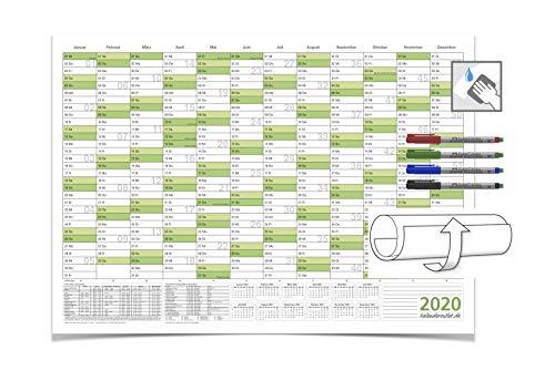 XXL Jahreskalender - 2020 - DIN B0 grün 138,0 X 99,0 cm 250g/m2 feucht abwischbar mit 4-ER FABER-CASTELL Marker
