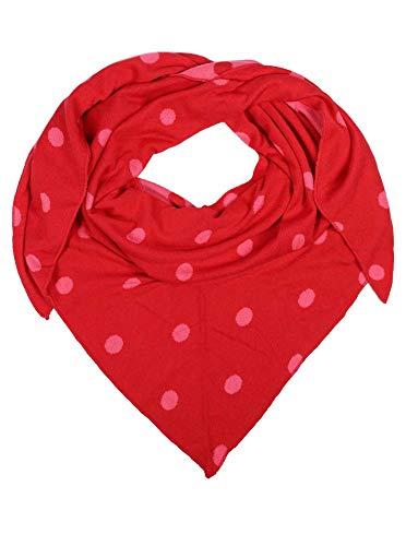 Zwillingsherz Dreieckstuch aus Baumwolle - Hochwertiger Schal mit Punkten für Damen Jungen Mädchen - Uni - XXL Hals-Tuch und Damenschal - Strick-Waren - für Herbst Frühjahr Sommer rot