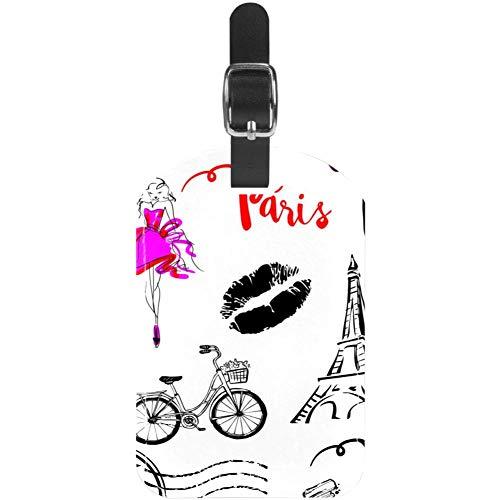 Etiquetas de Equipaje de la Torre Eiffel de París con Labios de Belleza, Etiquetas de Maleta de Viaje de Piel, 1 Paquete