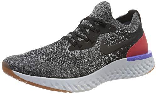 Nike Epic React Flyknit, Zapatillas de Running Hombre, Color Negro, Negro, Blanco y Rojo Orbit 006, 44 2/3 EU