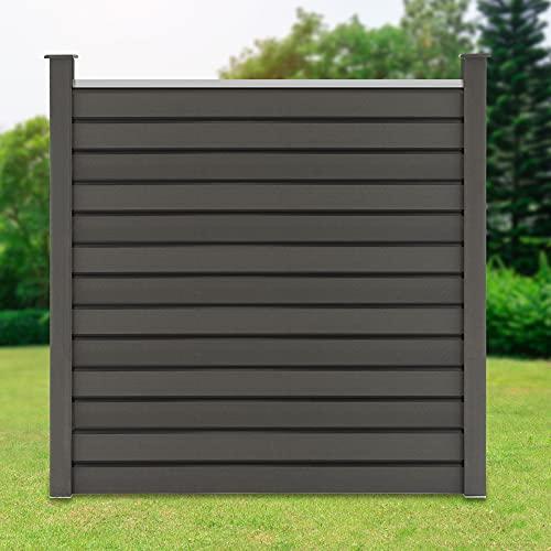 ML-Design WPC Sichtschutzzaun Komplettset, 1x Quadratelement aus 13 Paneele 170x175cm + 2x Pfosten 185cm, Grau, robust, zum aufschrauben, WPC-Zaun Gartenzaun Steckzaun Windschutzzaun Sichtschutzwand