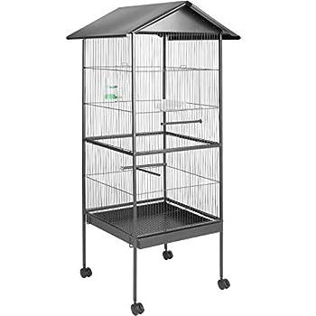 TecTake Volière pour Oiseaux, Cage sur roulettes pour Canaries Perroquet Perruches (avec Toit | No. 400749)
