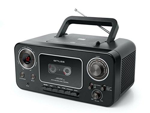 Muse M-182 Stereo-Radio mit CD-Player und Kassetten-Recorder mit Aufnahme-Funktion, Batteriebetrieb möglich (UKW und MW-Tuner, AUX-Eingang, Teleskopantenne), schwarz