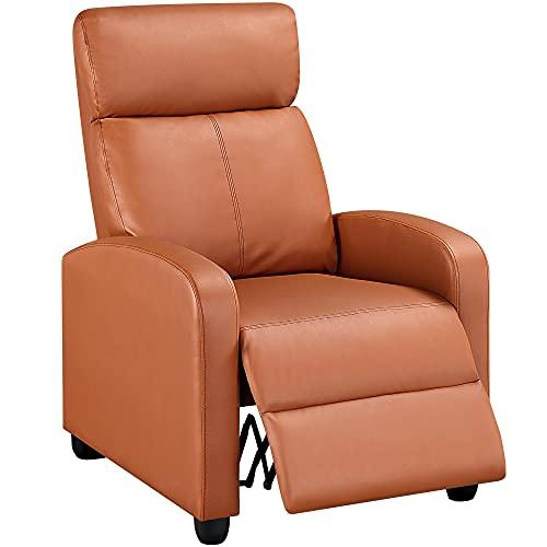 Yaheetech Relaxsessel Liegesessel mit Verstellbarer Beinablage Fernsehsessel aus Kunstleder Ruhesessel TV Sessel 160° neigbar Hellbraun