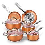CUSIBOX Topfset 10-Teilig Induktionstöpfe aus Aluminium Pfannenset Antihaftbeschichtung Töpfe Kochtopf Set mit 4 Glasdeckel, Orange