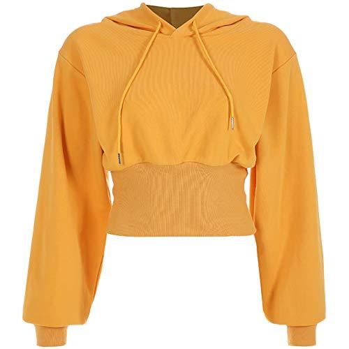 Damen taillierter Pullover Hoodie Weinrot Weiß Schwarz Orange Kapuzenpullover mit verstellbare Ziehschnüre Kurzpullover Sweater Sweatshirt Langarm Oversize Hip Hop Täglich Urlaub Freizeit Sportlich