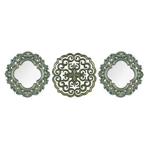 CAPRILO Set de 2 Espejos y 1 Adorno Pared Decorativos de Resina Barrocos. Cuadros y Apliques. Muebles Auxiliares. Decoración Hogar. Regalos Originales. 25 x 25 x 2 cm.