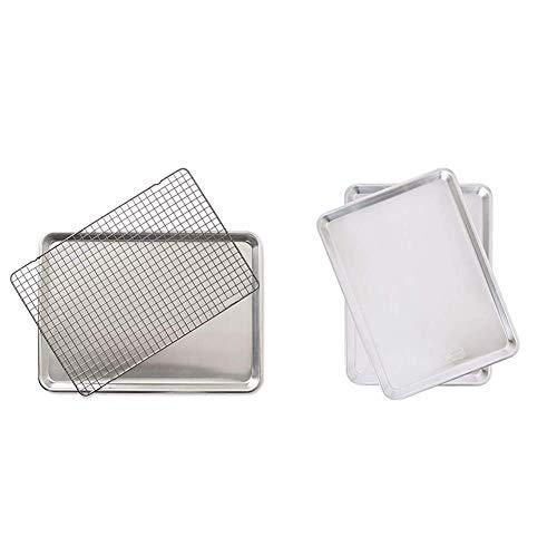 Nordic Ware Half Sheet with Oven Safe Nonstick Grid, 2 Piece Set, Natural & Ware Natural Aluminum Commercial Baker