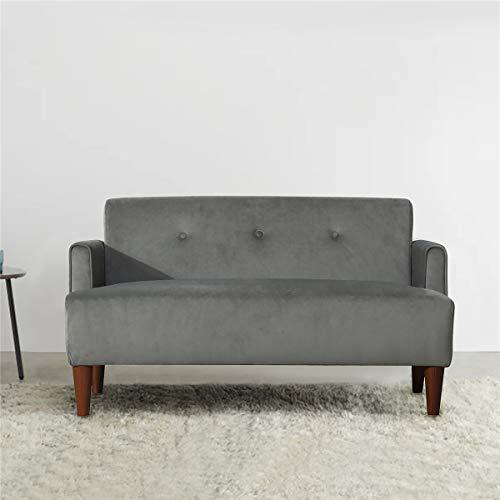 Nyyi 2 Sitzer Sofa, Couch mit Hochwertigem Schwamm und Bequemem Stoff, 116 x 55 x 66cm, Polstermöbel für kleine Wohnungen, Gästezimmer, Stoffsofa mit Holzfüße, Grau