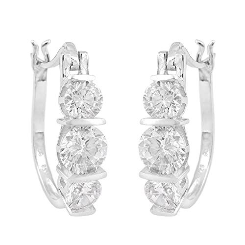 Shine Jewel 3.0 CT Diamante simulado Pendientes Huggie de 3 piedras Chapado en rodio Plata de ley 925 Regalo de joyería nupcial para mujeres