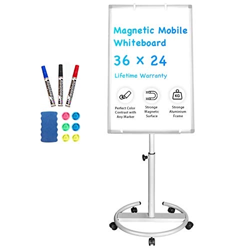 Mobile Whiteboard – 36 x 24 inches Portable Magnetic Dry Erase Board Stand Easel White Board Dry Erase Easel Standing Board w/ Flipchart Hooks