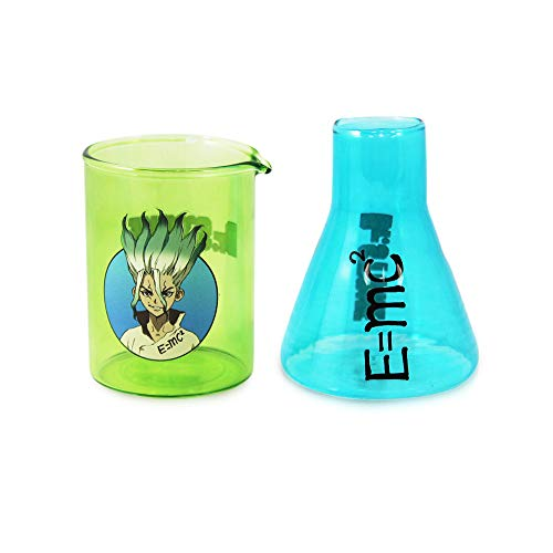 Dr. Stone Senku & E=mc2 Shot Glass set of 2 [BLUE GREEN 3oz], Beaker Mini Shot Glass, By Just Funky - Science Fiction, Anime, Kingdom of Science