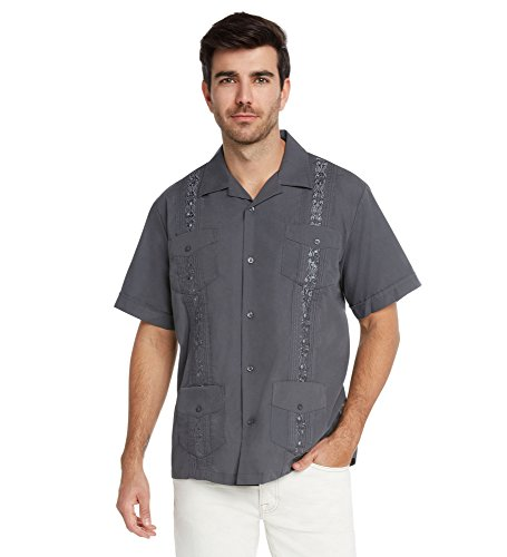 9 Crowns Essentials Men's Guayabera Button Down Shirt-Dark Gray-Medium