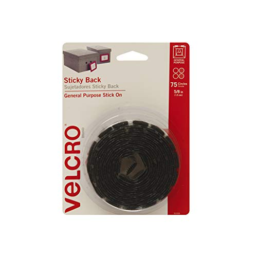 "VELCRO Brand Dots with Adhesive Black | 75 Pk | 5/8"" Small Circles 
