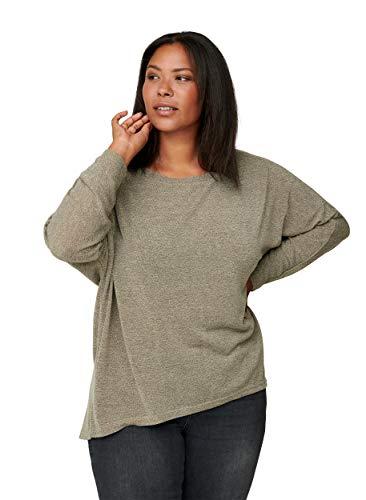 Zizzi Damen Große Größen Bluse runder Ausschnitt Einfarbig Beige Gr 50-52