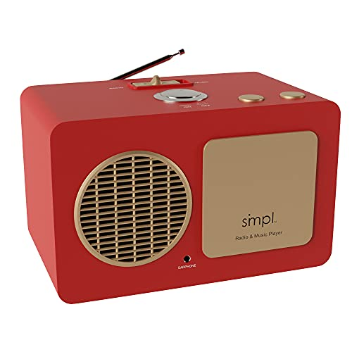 SMPL One-Touch Music Player, Audiobooks + MP3, Quality-Sound, Durable Wooden Encloser with Retro Look, 4GB USB with 40 Nostalgic Hits Included, Live Technical Support (Red, Music + Radio Player)