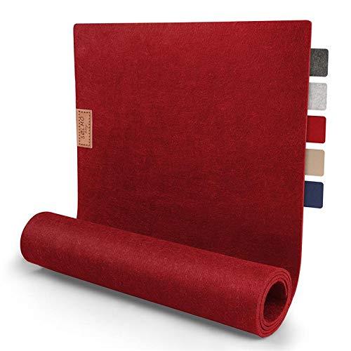 Sölmo Design Tischläufer aus Filz I 150x40 cm Tischband I Abwaschbar mit Leder Label, Skandinavischer Tisch Filzläufer Herbst Weihnachten (Rot)