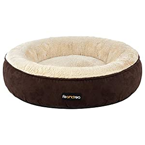 FEANDREA Dog Bed, Donut Cat Bed, Washable Pet Sofa, Anti-Slip, Round