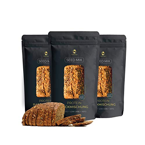 Seed Mix - Mezcla para hornear pan de proteínas 3x200g. | 4g. carbohidratos | Sin cereales | Sin gluten | Para Paleo, Keto baja en carbohidratos y desarrollo muscular | para diabéticos