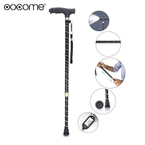 OOCOME ausziehbarer Gehstock Gehhilfe Wanderstock Krückstock LED-Lampe,selbsttragend aus ultra-leichtem Aluminium, mit Knöchel und extra großem Handgriff, drehbar und Bodenstütze
