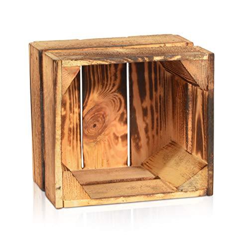 Chiccie Gevlamde fruitkisten, verschillende maten, houten kisten, wijnkisten, hout, appelkisten, fruitkisten, gebrand 22 x 20 x 15 cm.